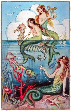 A charming vintage Italian postcard featuring mermaids and underwater creatures.