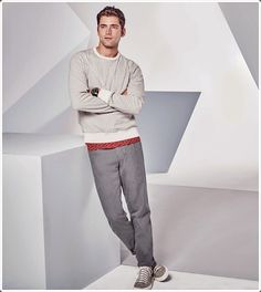 Chinos look classy with sweaters as well!