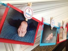 1st Year Photo Clips Birthday Party Banner - Dr. Seuss Cat in Hat Inspired Happy Birthday Banner - Turquoise and Red - Party Packs Available on Etsy, $32.00