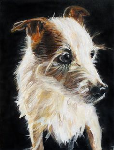 """Boomer Sue""; acrylic on canvas; 12"" x 9""; 2013    Boomer Sue is an 18 year old, broken-coat jack russell owned by my mother in law.  He is as much of a character as the painting shows...."