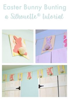 Easter Bunny Bunting - a Silhouette® tutorial - make a quick, cute & easy card stock Easter bunny banner