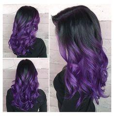 Purple Dip Dye, Hair Color Purple, Hair Dye Colors, Cool Hair Color, Black To Purple Ombre, Blue Green, Long Purple Hair, Purple Hair Highlights, Dyed Hair Purple