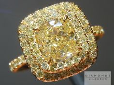 This is as stunning Fancy Light Yellow Cushion Cut Diamond set into a double halo diamond ring Canary Yellow Diamonds, Canary Diamond, Yellow Diamond Rings, Colored Diamonds, White Diamonds, Cushion Cut Diamonds, Pink Sapphire, Gemstone Jewelry, Fine Jewelry