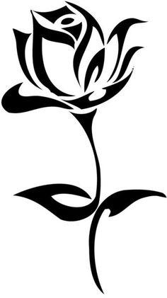 Black And White Tribal Rose Tattoo Design Stencil Patterns, Stencil Art, Stenciling, Rose Stencil, Stencil Designs, Rose Patterns, Painting Stencils, Tribal Rose Tattoos, Simple Tribal Tattoos