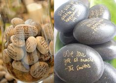 The pebble ceremony invites guests to write on supplied pebbles. The pebbles are put into a jar and presented to the couple during the ceremony.