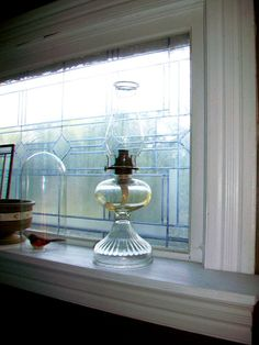 Vintage Kerosene Lamp Clear Pressed Glass by RedRiverAntiques, $38.00