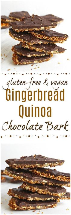 Gingerbread Quinoa Chocolate Bark - Perfectly crunchy with the warm spices of gingerbread, this Gingerbread Quinoa Chocolate Bark is a simple homemade candy that would make for a great holiday gift! gluten-free / vegan