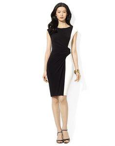 lauren ralph lauren color block dress works like magic to disguise the pooch