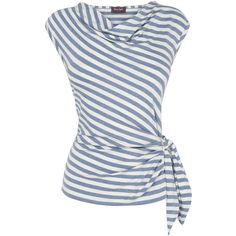 Phase Eight Debbie Stripe Top. Cornflower/White ($49) ❤ liked on Polyvore featuring tops, blouses, shirts, stripes, shirts & blouses, white striped shirt, cowl neck blouse, no sleeve shirts and white sleeveless blouse