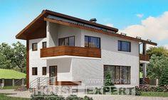 180-009-П Проект двухэтажного дома с мансардным этажом, небольшой загородный дом из кирпича