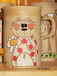 Painted Porcelain, Pottery Mugs, Mug Cup, Ceramic Mugs, Cat Lovers, Doodles, Houses, Tableware, Crafts