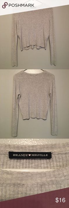 Brandy Melville ribbed long sleeve Brandy Melville gray long sleeve. Is ribbed and slightly cropped. Perfect fall basic, in great condition. Brandy Melville Tops Tees - Long Sleeve