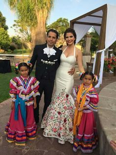 Traditional Latin Mexican Descent Wedding Dress. I love the bottom of her dress