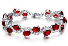 Girl Bracelets Copper Platinum Plated Fashion Classic Red AAA Cubic Zirconia tennis women bracelets http://www.amazon.com/dp/B01CSDQ91U