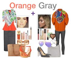 """""""Orange + Gray"""" by artteca ❤ liked on Polyvore featuring Tom Ford, Current/Elliott, Chanel, Delpozo, Gianvito Rossi, Nine West, Ray-Ban, Valentino, Guerlain and Yves Saint Laurent"""