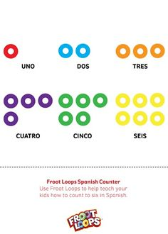 Froot Loops Spanish Counter teaches your kids to count up to six in Spanish.