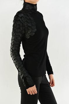 """The Couture Black Leather """"The Raven"""" Knit Long Sleeve Smock Tunic is a unique turtleneck top. Check out this unique top and other couture fashions at Kami Shade."""
