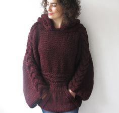 VENTA de invierno 20% de talla Borgoña tejer suéter con por afra