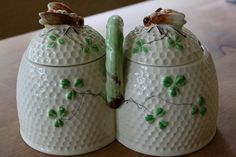 Imitation Belleek Shamrock jam jars/honey pots.  Made in Occupied Japan