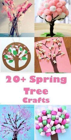 spring tree crafts - 20 plus kids crafts - acraftylife.com