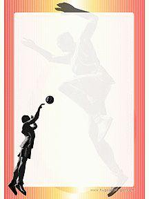 Un basketteur entrain d'effectuer un tir au panier, papier à lettre à imprimer