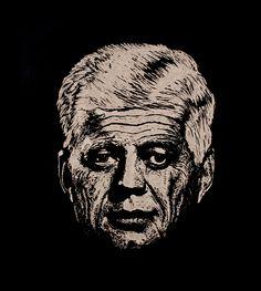 JFK - Forever Old by teokon, Handmade woodcut 26x30 cm.