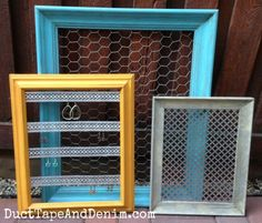 Thrift store makeover, completed frames | DuctTapeAndDenim.com