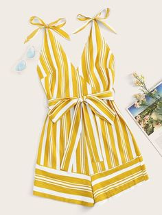 Striped Surplice Belted Cami PlaysuitCheck out this Striped Surplice Belted Cami Playsuit on Romwe and explore more to meet your fashion needs! Mode Outfits, Fashion Outfits, Fashion Trends, Jumper Pants, Outfit Trends, How To Roll Sleeves, Jumpers For Women, Jumpsuits For Women, Romwe