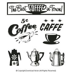 Vintage Coffee Sign Clip Art 09869 of coffee illustrations - coffee cups, coffee pots, coffee signs, coffee lettering and coffee illustrations by Download Vector.