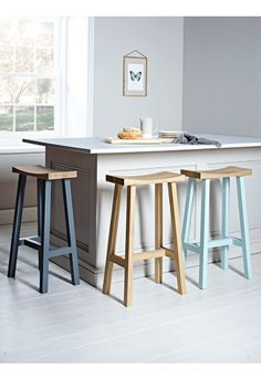 Curved Top Oak Stool - Charcoal - Stools & Chairs - Kitchen