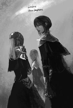The 3 sisters of Londor. Dark Souls 3, Demon's Souls, Soul Saga, Fantasy World Map, Bloodborne Art, Character Art, Character Design, Dark Fantasy Art, Cool Artwork