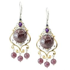 Michael Valitutti Two-tone Lepidolite, Amethyst and Blue Sapphire Earrings