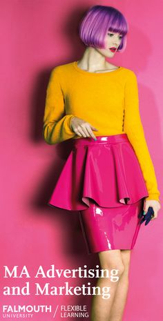 Study at the UK's Arts University from home. Discover how our MA in Advertising & Marketing can enhance your career. Pop Art Fashion, Fashion Poses, Colorful Fashion, High Fashion, Womens Fashion, Fashion Design, Q Hair, Latex Skirt, Latex Fashion