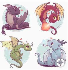 Chibi and kawaii dragons Art Harry Potter, Harry Potter Drawings, Harry Potter Dragon, Cute Kawaii Drawings, Cute Animal Drawings, Mythical Creatures Art, Fantasy Creatures, Kawaii Dragon, Desenhos Harry Potter