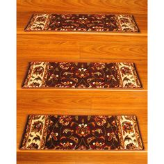 Natural Area Rugs Handcrafted Summit Carpet Stair Treads ('9 x 2'5) (Set of 13) (Floral Brown), Size 2' x 3'