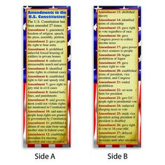 These two-sided bookmarks contain a brief, informative description of each of the 27 amendments to the United States Constitution. 36 bookmarks per pack. Constitutional Amendments, Constitutional Rights, Teaching Government, Freedom Of Religion, 5th Grade Social Studies, Smart Set, Bill Of Rights, History Facts, Things To Know