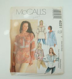McCall's 4031 Womens Tops in Two Lengths Paper Sewing Pattern Size Xsm Sml Med Uncut by MemoryOriginal on Etsy