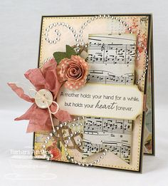 Beautiful Music Sheet Paper Card...with ribbon & roses.