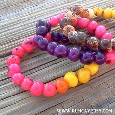 Rainforest Açaí Beads Bracelets  set of 3  surfer hippie by Rum Cay Island Jewelry