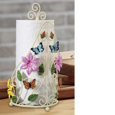 Hand-painted butterflies and blooms dance along the antique-white metal paper towel holder.Buy Now, Pay Later Credit Shopping at Seventh Avenue! Butterfly Tree, Butterfly Wall Art, Butterfly House, Butterflies, Casual Dinnerware Sets, Tree Table, Table Lamp, Paper Towel Holder, Utensil Set