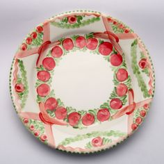 ursuline Plates, Tableware, Design, Red, Green, Unique, Tablewares, Licence Plates, Dishes