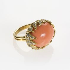 American Mid-Century Gold, Coral and Diamond Ring by Julius Cohen
