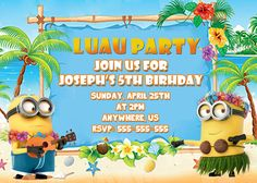 Despicable Me Minions Birthday Invitations Hawaii Luau - partyexpressinvitations