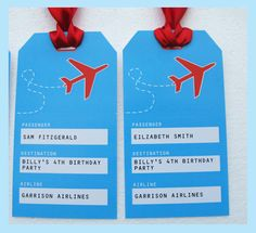 Printable Airplane Luggage Tags - you personalize for each party guest!    Editable Template   INSTANT DOWNLOAD via SIMONEmadeit.com