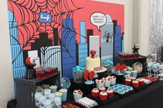 What little guy wouldn't want a fun Spiderman Birthday Party? Check out all of the fun details in this Spiderman party of the century! Happy 4th Birthday, Superhero Birthday Party, 4th Birthday Parties, Birthday Party Decorations, Boy Birthday, Birthday Desserts, Birthday Cake, Spider Man Party, Minions