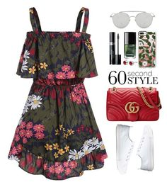 """60-Second Style"" by beebeely-look ❤ liked on Polyvore featuring Gucci, Casetify, Chanel, Christian Dior, sammydress, 60secondstyle, SNEAKERSANDDRESSES, showsomeshoulder and outdoorconcerts"