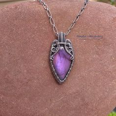 Purple Labradorite Wire Wrapped Pendant Sterling Silver Labradorite Necklace Handmade One Of A Kind Artisan Jewelry by PeacefulVibesJewelry on Etsy