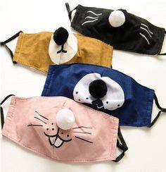 Korea personality cute cartoon three-dimensional face mask dust haze haze warm and fresh mask - waybeta Small Sewing Projects, Sewing Hacks, Diy Mask, Diy Face Mask, Fabric Crafts, Sewing Crafts, Print Patterns, Sewing Patterns, Mouth Mask Fashion