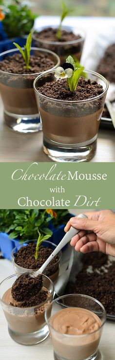 Chocolate Mousse with Chocolate Dirt                                                                                                                                                                     (Halloween Dessert Recipes)