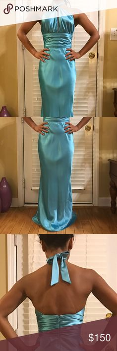 """Teal Formal Dress by ABS Allen Schwartz Gorgeous, teal, satin, floor length dress by ABS Allen Schwartz. Worn only 1x for a few hours! Hemmed to fit someone who is around 5'2"""". ABS Allen Schwartz Dresses Prom"""